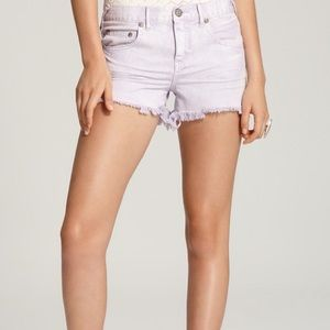 Free People Lavender Cut Off Denim Shorts Lou Wash